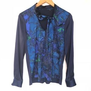 Elie Tahari Blue Print Tie Neck Silk Blouse S